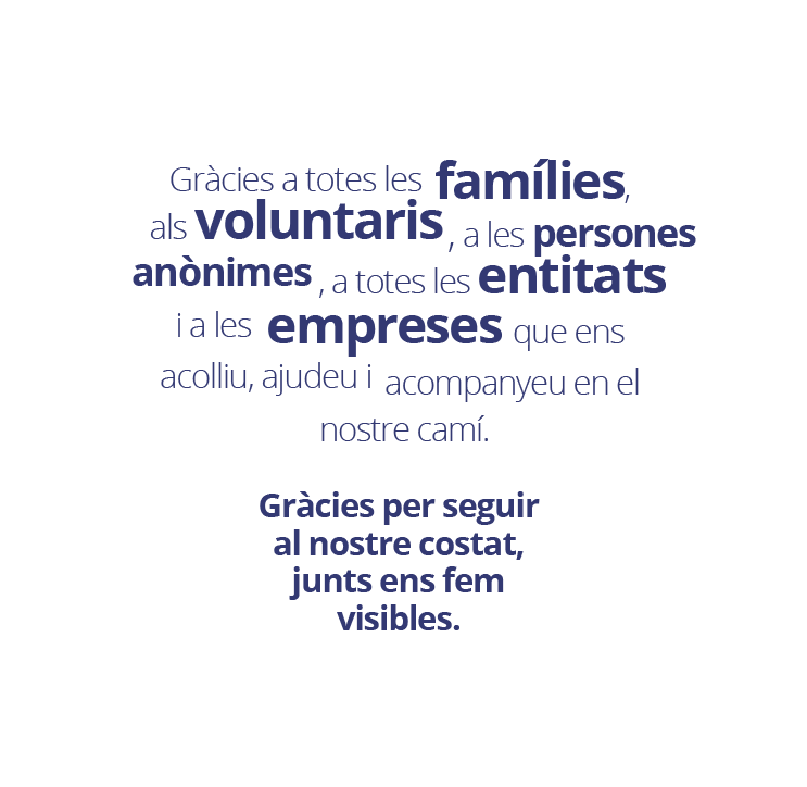 col·laboració amb la Fundació Síndrome de Down de Girona i Comarques ASTRID-21: famílies, voluntaris, entitats i empreses